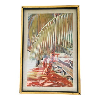 1941 Vintage Tropical Scene Signed Painting For Sale