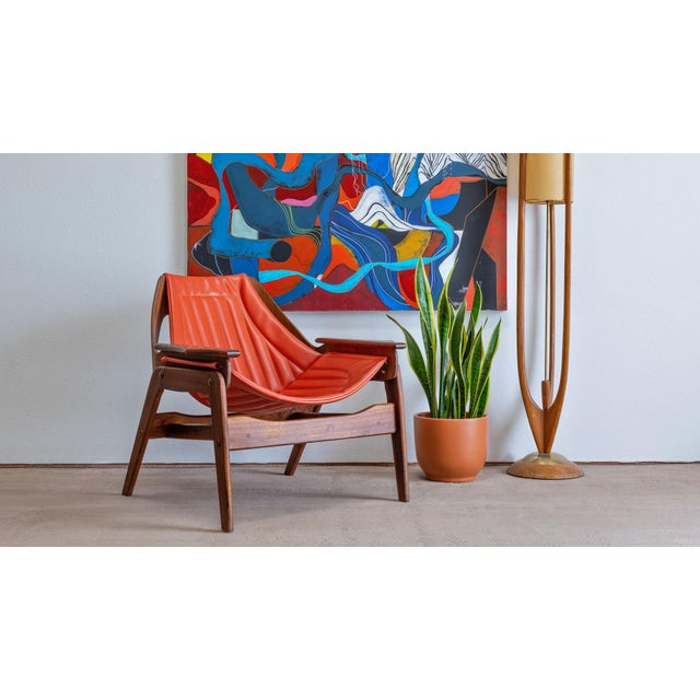 PRODUCT DETAILS: Mid-century modern Triumph I sling chair designed by Jerry Johnson for Charlton. Upholstery is entirely...