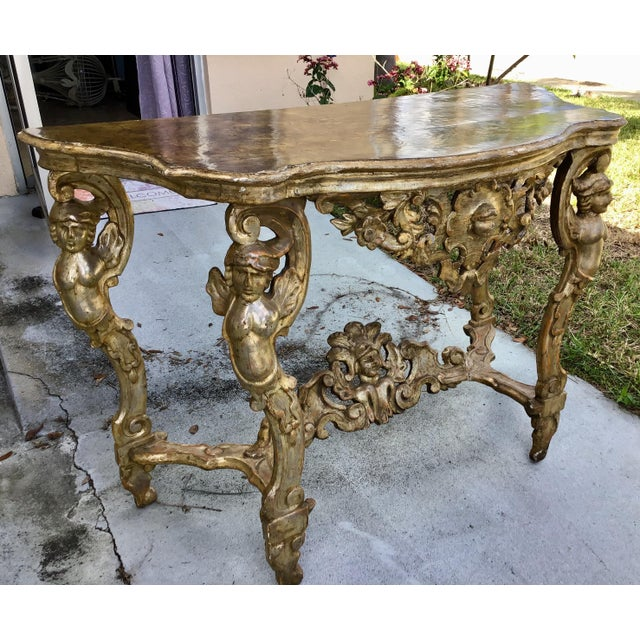 18th Century 18th Century Itlian Baroque Silver Gilt Console Table For Sale - Image 5 of 10