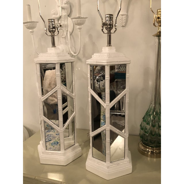 Chrome Vintage Chinese Chippendale Hollywood Regency White Lacquered Chrome Mirror Faux Bamboo Table Lamps - A Pair For Sale - Image 7 of 13