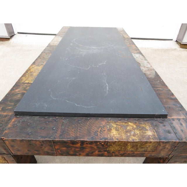 Mid 20th Century Paul Evans Mixed Metal Patchwork Slate Top Coffee Table For Sale - Image 9 of 13
