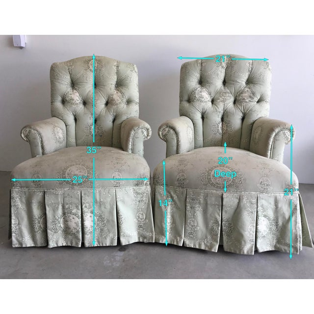 Celadon Vintage Rolled Arm Upholstered Chairs - a Pair For Sale - Image 8 of 9