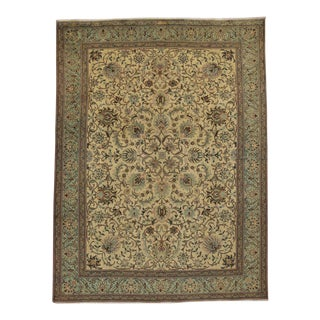 Vintage Persian Tabriz Area Rug with Traditional Style