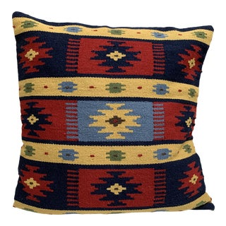 Vintage Earthy Wool Moroccan Throw Pillow For Sale