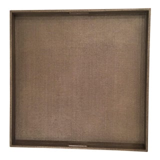 Made Goods Extra Large Square Tray in Seal Faux Raffia For Sale