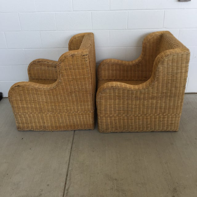 Boho Chic 1970s Boho Chic Rattan Club Chairs - a Pair For Sale - Image 3 of 11