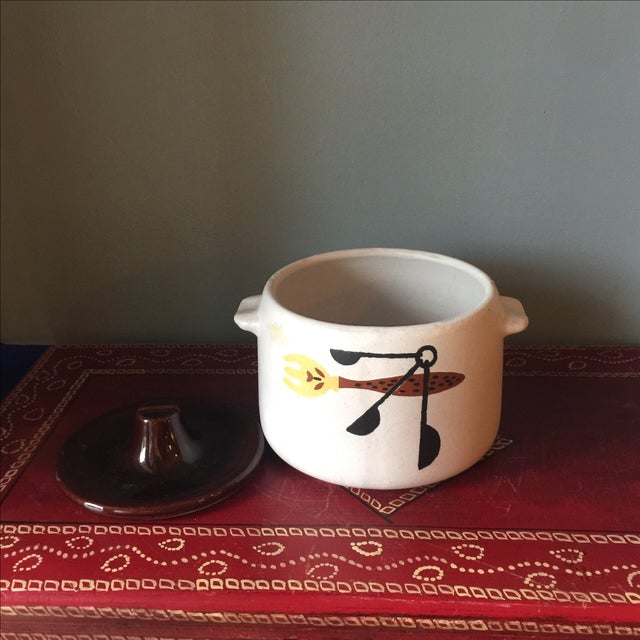 Mid-Century Kitchen Tools Graphic Ceramic Pot For Sale - Image 4 of 5