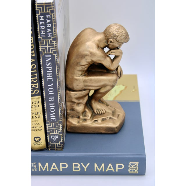 1928 Metallic Gold Thinking Man Bookends For Sale - Image 9 of 12