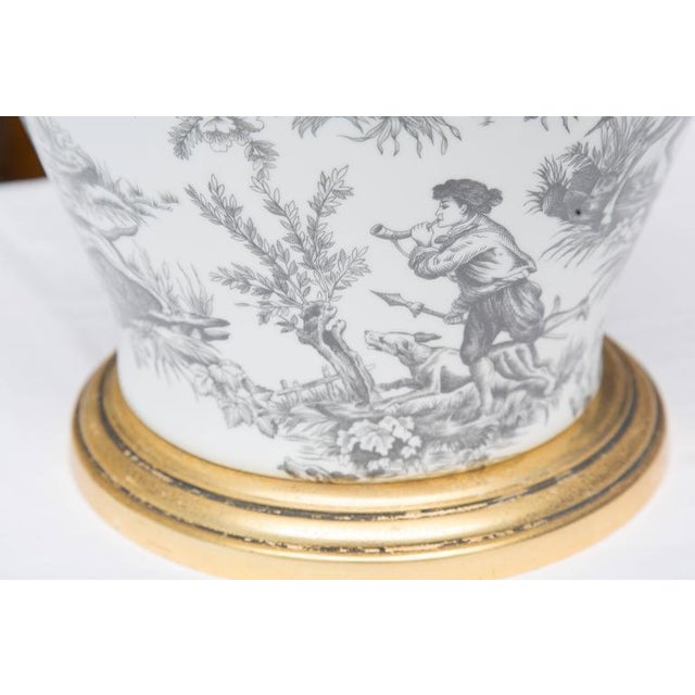 American Black and White French Toile Motif Lamp For Sale - Image 3 of 8
