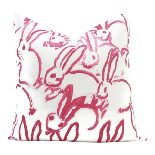 "20"" x 20"" Lee Jofa Groundworks Hutch Pink Bunny Pillow For Sale"