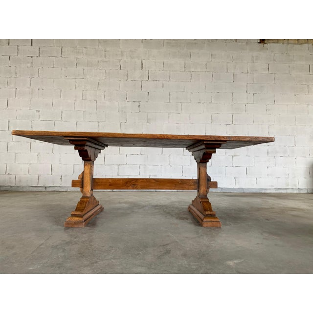 Farmhouse Antique French Farmhouse Solid Oak Wood Trestle Dining Table 19th C. For Sale - Image 3 of 13