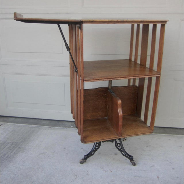 Industrial 1900s Mid-Century Modern Revolving Swivel Rotating Oak Barrister For Sale - Image 3 of 12