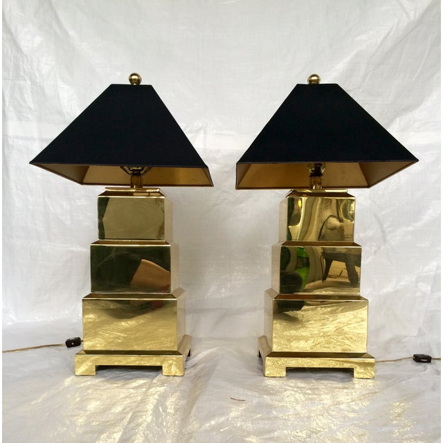 F. Cooper Brass Pagoda Lamps - Pair - Image 5 of 9