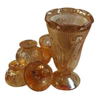 1930s Vintage Jeanette Iris and Herring Bone Vase & Pedestal Cups - 7 Pieces For Sale