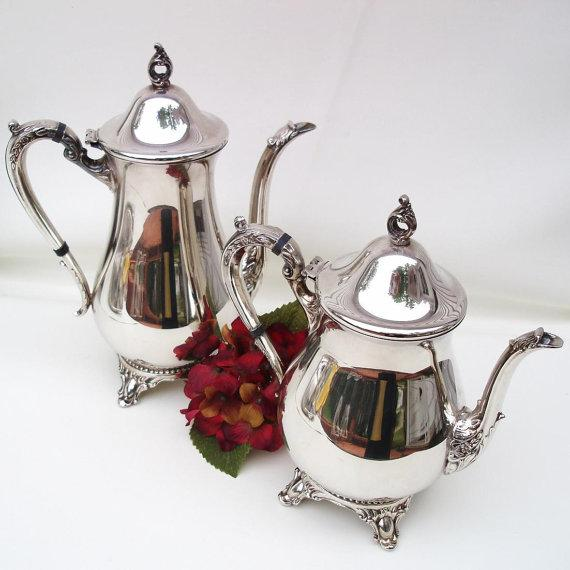 Tea Coffee Set 6 Pc Silver Plate Tea Service - Image 4 of 6