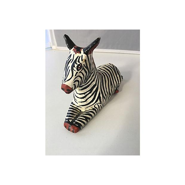 Hollywood Regency Painted Papier Mache Zebra For Sale - Image 3 of 4