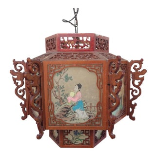 Red Chinese Wood & Lucite Lantern For Sale