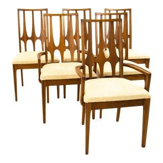 Broyhill Brasilia Mid Century Brutalist Walnut Dining Chairs - Set of 6 For Sale