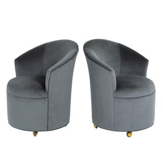 Pair of Sculptural Directional Barrel Chairs on Casters Circa 1980s For Sale