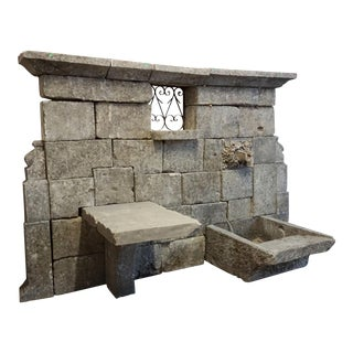 18th Century Antique Limestone Wall Fountain For Sale