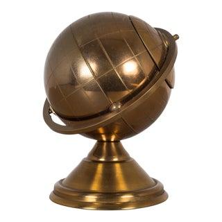 Mid-Century Brass Globe Cigarette Holder C. 1960s For Sale
