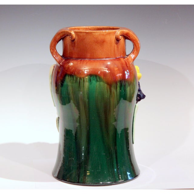 Art Nouveau Large 1920s Awaji Pottery Antique Applied Irises in Deep Relief Vase For Sale - Image 3 of 13