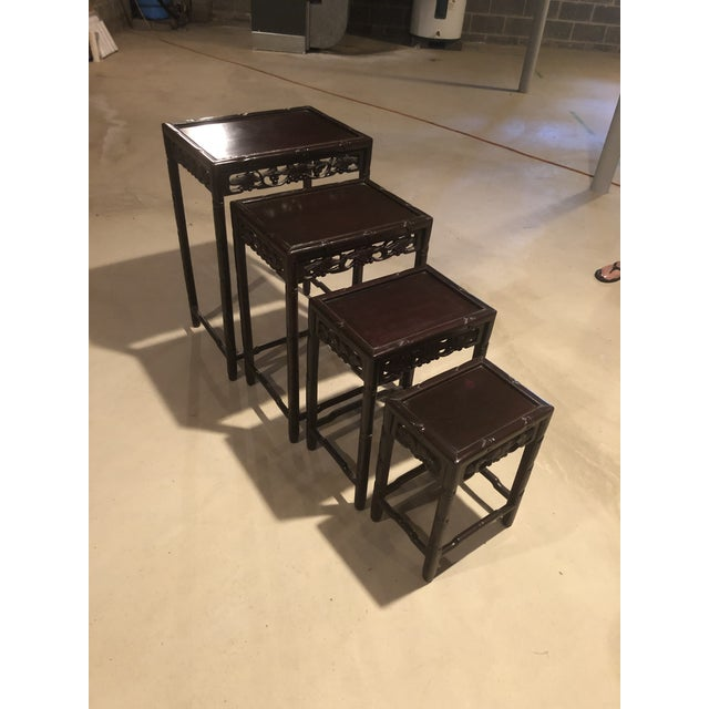 1930s Asian Wooden Nesting Tables - Set of 4 For Sale - Image 5 of 13