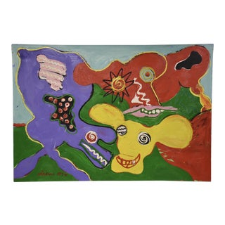 """""""Three Cows"""" Impressionist Painting For Sale"""