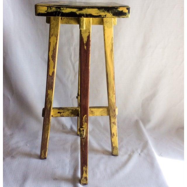 Yellow Distressed Cedro Macho Wood Bar Stool - Image 7 of 8