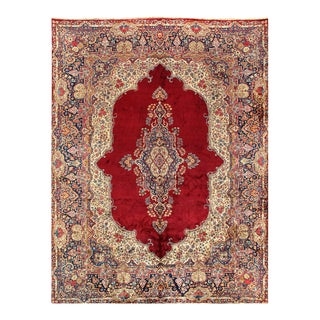Red Persian Semi Antique Hand Knotted Kerman 9'11'' X 13'4'' For Sale