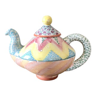 Mackenzie Childs Pottery Keukenhof Teapot For Sale