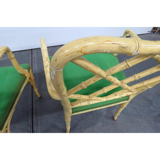 Pair of Faux Bamboo Armchairs For Sale - Image 4 of 9