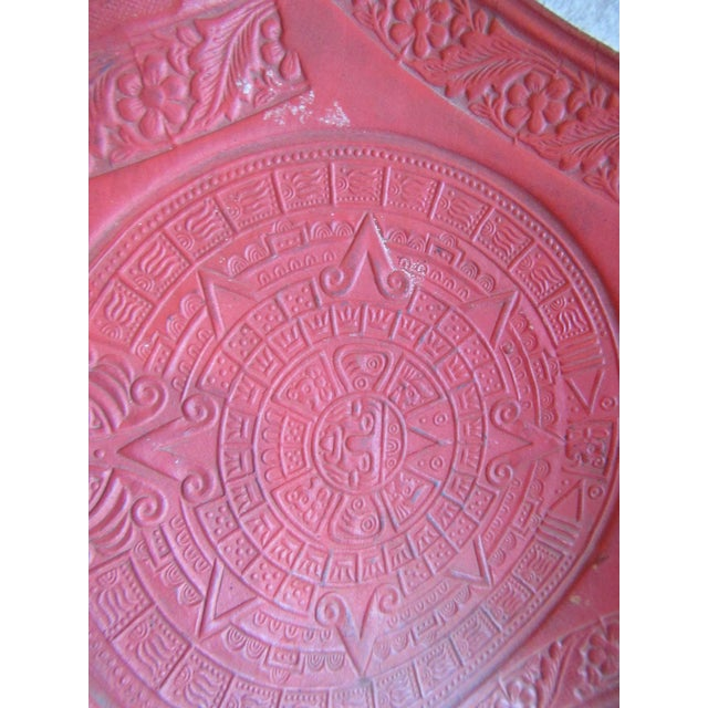 Vintage Mexican Craft Mid Century Red Leather Stool - Image 10 of 11