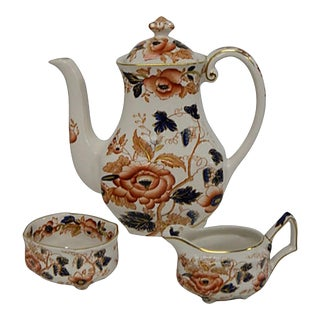 Vintage Wedgwood Enoch Old Castle Imari STyle Coffee Pot/ Tea Set Set/3 For Sale