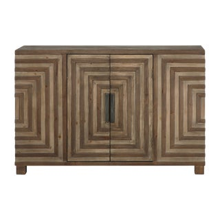 Rustic Geometric Wooden Credenza For Sale