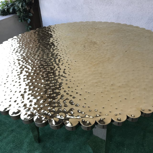 Klassik Monumental Brass Hammered Entry Table For Sale In Los Angeles - Image 6 of 12