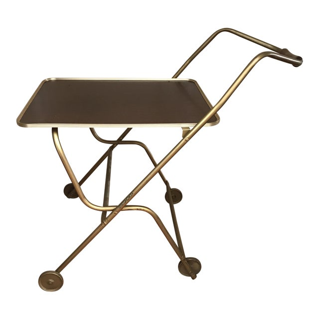 Mid-Century Rolling Serving Tray Bar Cart For Sale