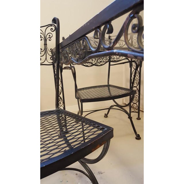 Black Lee L. Woodard & Sons Mid-Century Wrought Iron Dining Set- 5 Pieces For Sale - Image 8 of 10