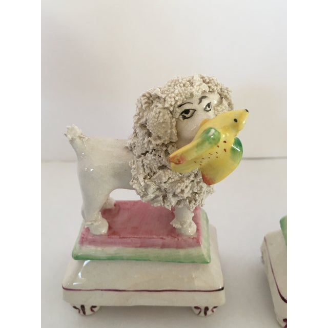 Antique Staffordshire Poodle Dog Figurines - A Pair For Sale - Image 4 of 11