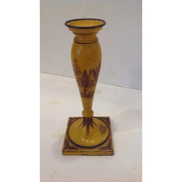 French Country 19th Century French Tole Candlesticks - a Pair For Sale - Image 3 of 13