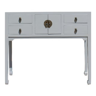 Chinese Semi Gloss Gray Wood Plain 4 Drawers Side Table For Sale
