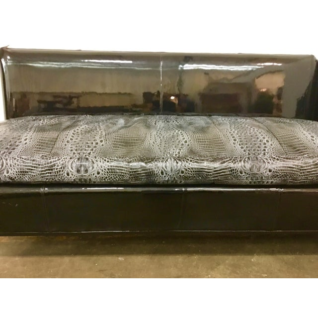 Contemporary Leathercraft Embossed Alligator Print Sectional Sofa For Sale - Image 3 of 5