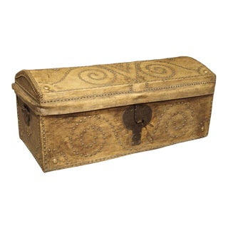 19th Century Natural Leather and Brass Studded Spanish Trunk For Sale