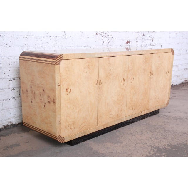 Contemporary Burled Olive Wood Credenza by Henredon For Sale - Image 3 of 13