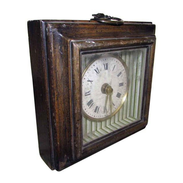 Traditional Vintage Square Wall Clock For Sale - Image 3 of 6