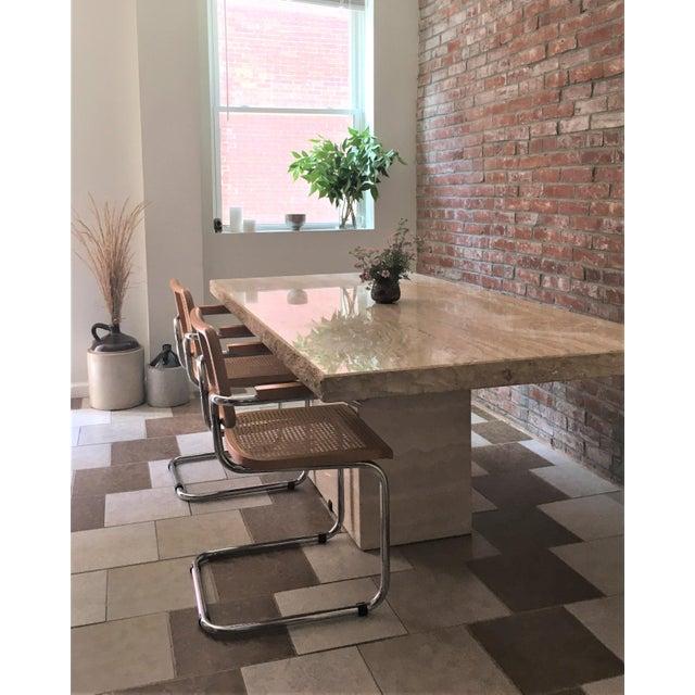 Beige Travertine Pedestal Dining Table For Sale - Image 8 of 9