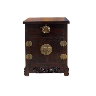 Chinese Round Hardware Foo Dog Carving Side End Table Nightstand