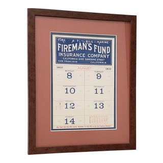 "Antique ""Fireman's Fund"" San Francisco Calendar Page C.1910 For Sale"