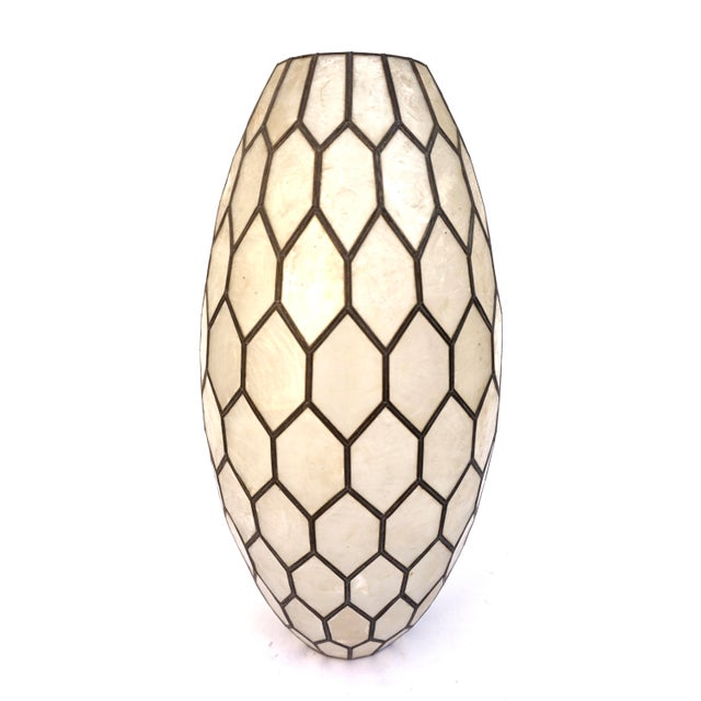 Large Vintage Bohemian Glam Capiz Shell Lampshade   Mid-Century Bullet Shape Lamp Shade   Chic Statement Lighting For Sale - Image 13 of 13