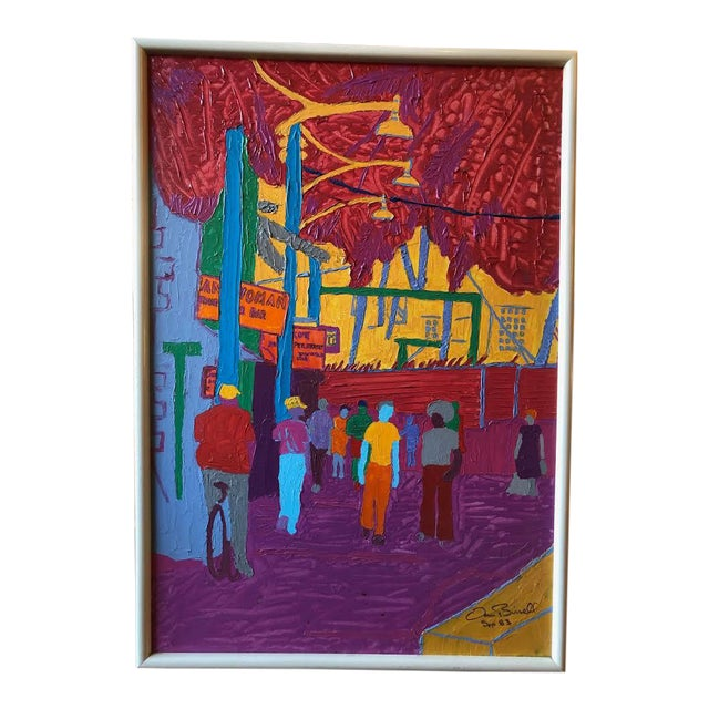 """Dan Bissell Sep 83"" Colorful Street Scene Oil on Canvas, Signed For Sale"